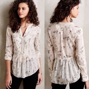 Maeve Anthropologie Abella Pintuck Floral Blouse 2